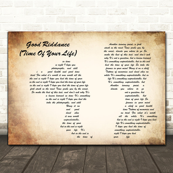 Green Day Good Riddance (Time Of Your Life) Man Lady Couple Song Lyric Art Print