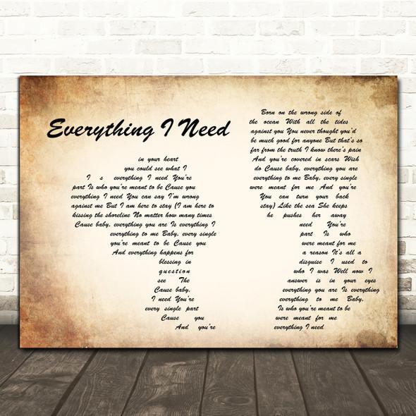 Skylar Grey Everything I Need Man Lady Couple Song Lyric Art Print