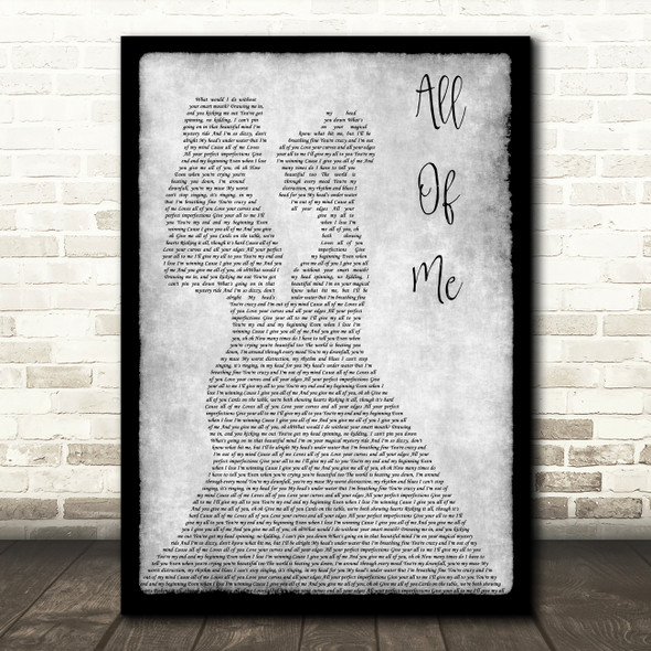 John Legend All Of Me Lesbian Couple Two Ladies Dancing Grey Song Lyric Art Print