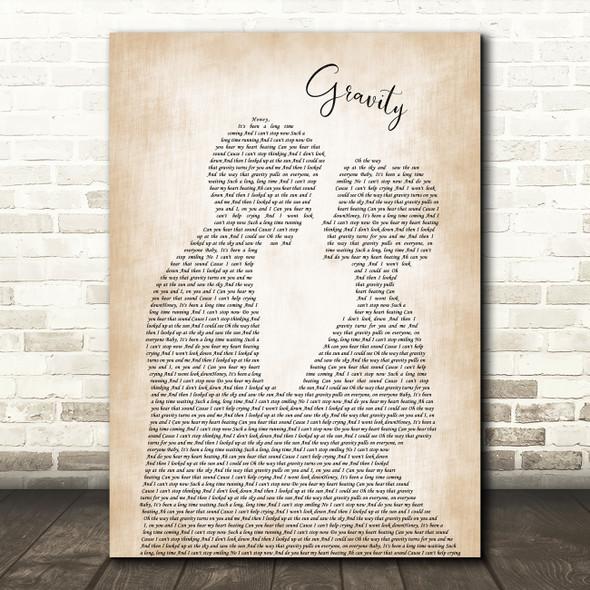 Embrace Gravity Man Lady Bride Groom Wedding Song Lyric Art Print