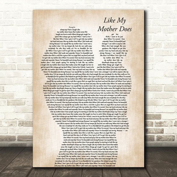 Lauren Alaina Like My Mother Does Mother & Baby Song Lyric Art Print