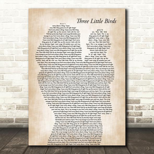 Bob Marley Three Little Birds Mother & Baby Song Lyric Art Print