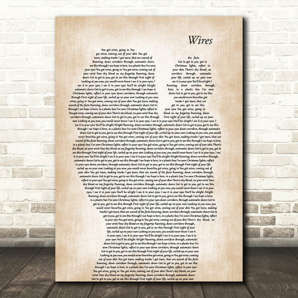 Athlete Wires Mother & Baby Song Lyric Art Print