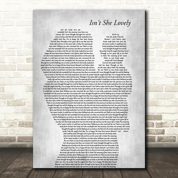 Stevie Wonder Isn't She Lovely Mother & Baby Grey Song Lyric Art Print