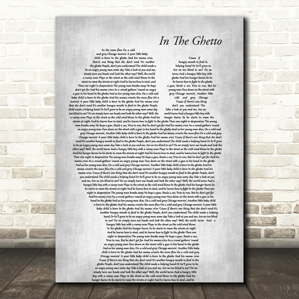 Elvis Presley In The Ghetto Mother & Baby Grey Song Lyric Art Print