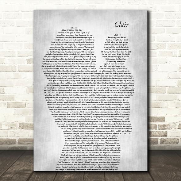 Gilbert O`Sullivan CLAIR Mother & Baby Grey Song Lyric Art Print