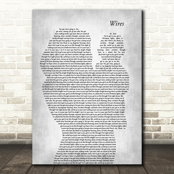 Athlete Wires Mother & Baby Grey Song Lyric Art Print