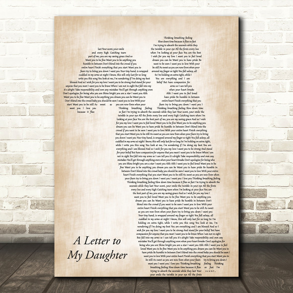 Kerri Brown A Letter to My Daughter Mother & Child Song Lyric Art Print