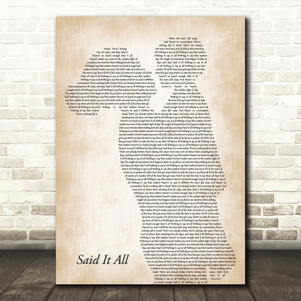 Take That Said It All Mother & Child Song Lyric Art Print