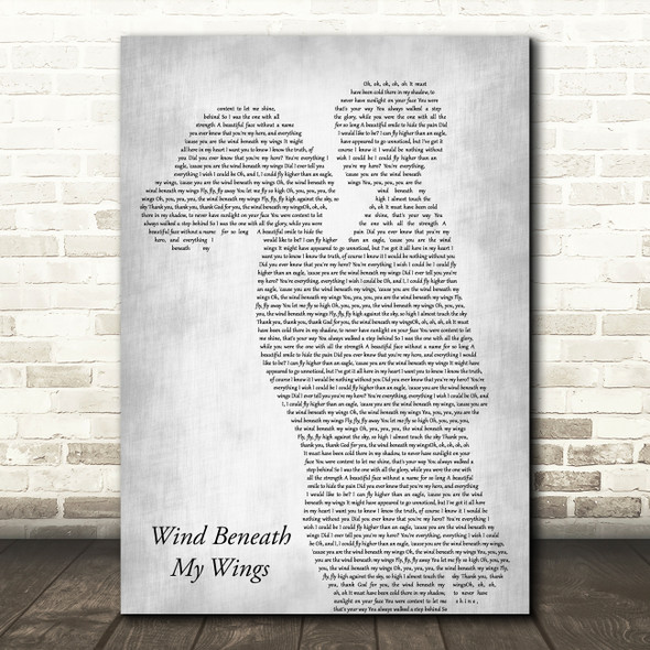 Bette Midler Wind Beneath My Wings Mother & Child Grey Song Lyric Art Print