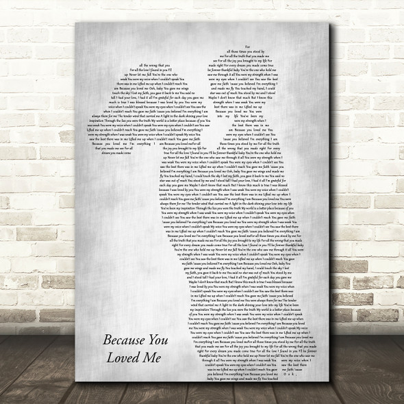 Celine Dion Because You Loved Me Mother & Child Grey Song Lyric Art Print