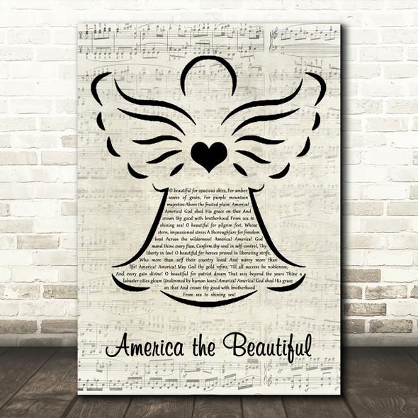 Katharine Lee Bates America the Beautiful Music Script Angel Song Lyric Art Print