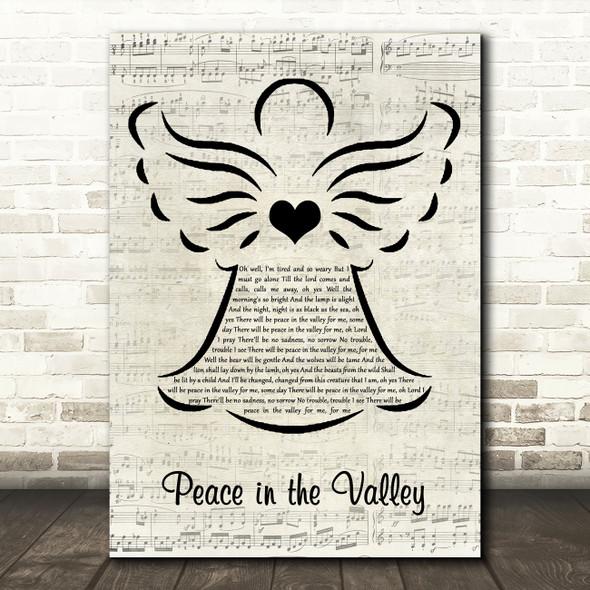 Elvis Presley Peace in the Valley Music Script Angel Song Lyric Art Print
