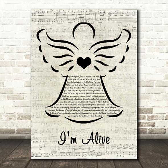 Celine Dion I'm Alive Music Script Angel Song Lyric Art Print