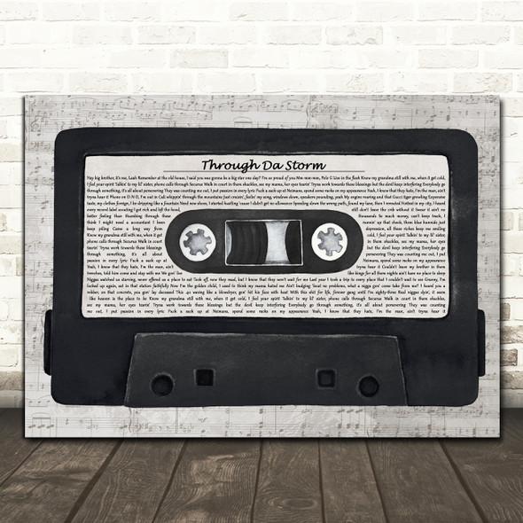 Polo G Through Da Storm Music Script Cassette Tape Song Lyric Art Print