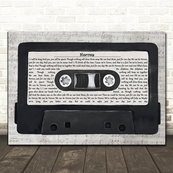 David Bowie Heroes Music Script Cassette Tape Song Lyric Art Print