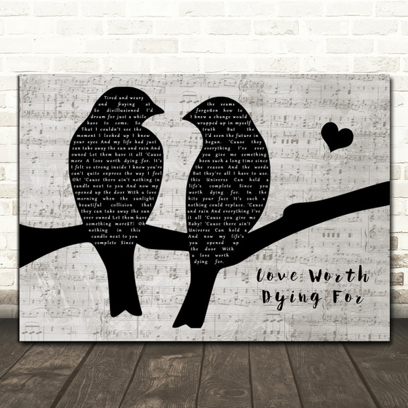 Thunder Love Worth Dying For Lovebirds Music Script Song Lyric Art Print