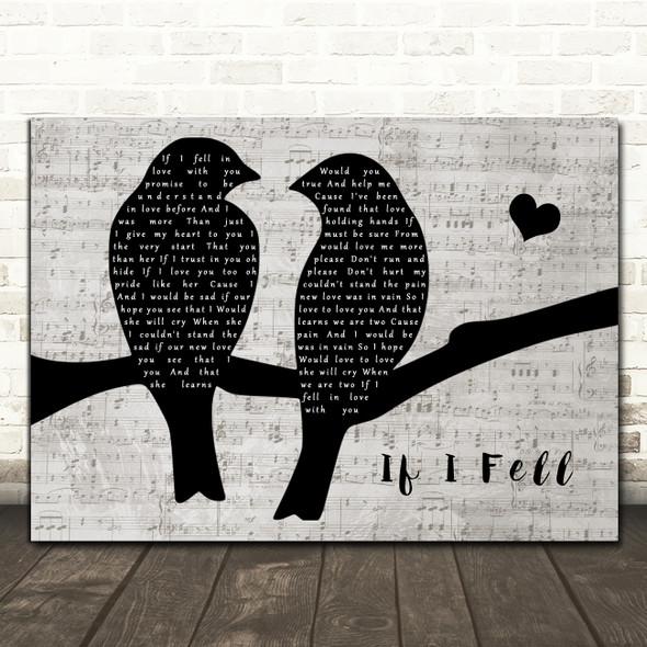 The Beatles If I Fell Lovebirds Music Script Song Lyric Art Print