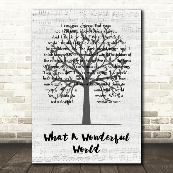 Louis Armstrong What A Wonderful World Music Script Tree Song Lyric Art Print