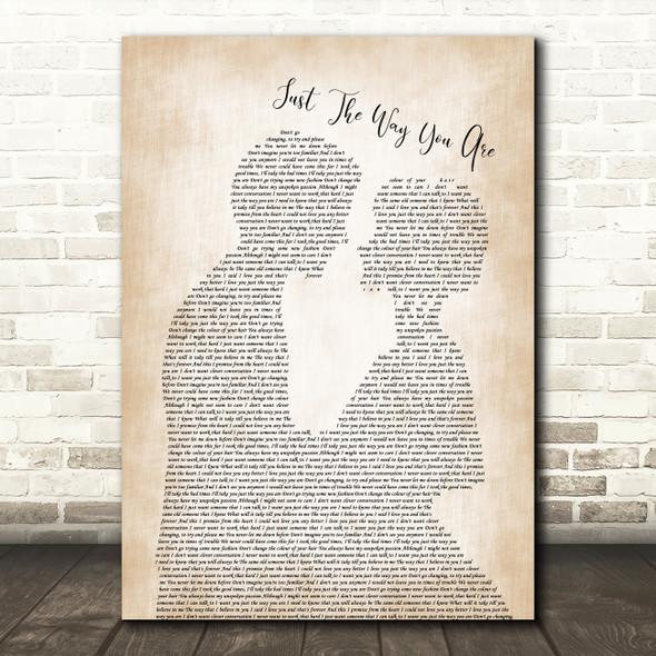 Billy Joel Just The Way You Are Man Lady Bride Groom Wedding Song Lyric Print