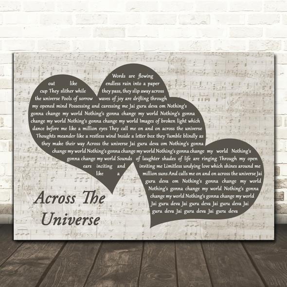 The Beatles Across The Universe Landscape Music Script Two Hearts Song Lyric Art Print