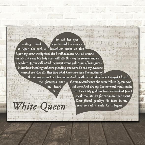 Queen White Queen Landscape Music Script Two Hearts Song Lyric Art Print