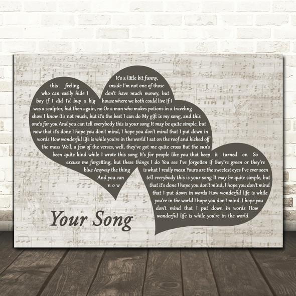 Elton John Your Song Landscape Music Script Two Hearts Song Lyric Art Print