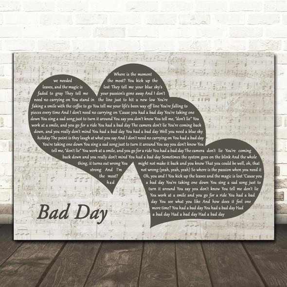 Daniel Powter Bad Day Landscape Music Script Two Hearts Song Lyric Art Print
