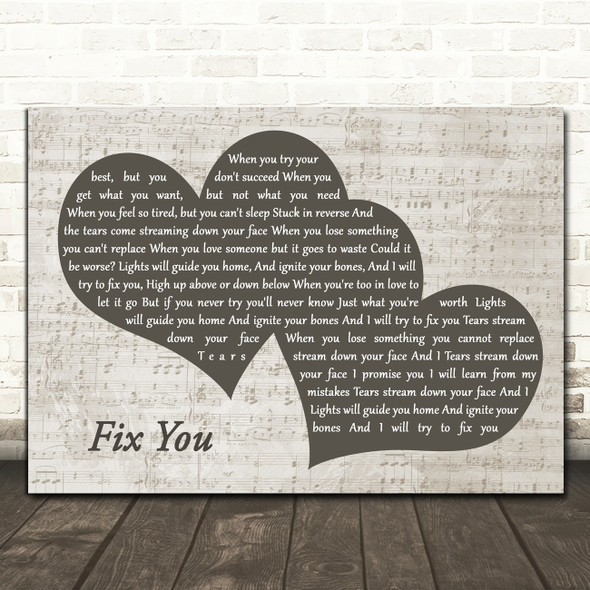 Coldplay Fix You Landscape Music Script Two Hearts Song Lyric Art Print