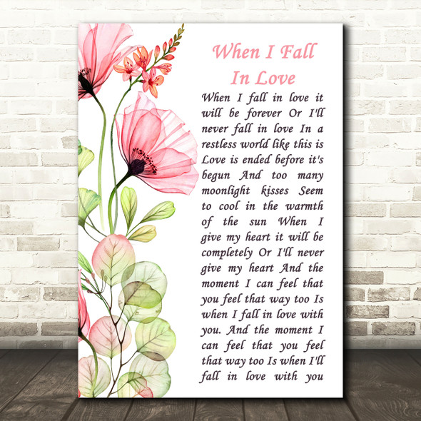 Nat King Cole When I Fall In Love Floral Poppy Side Script Song Lyric Art Print