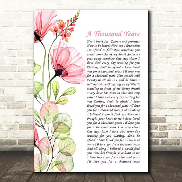 Christina Perri A Thousand Years Floral Poppy Side Script Song Lyric Art Print