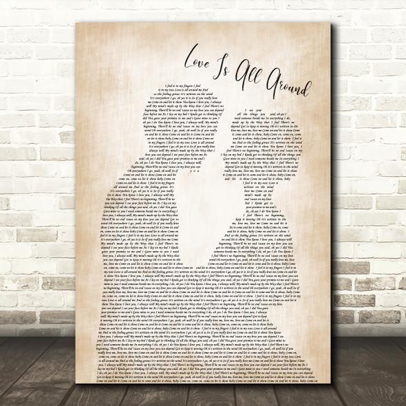 Wet Wet Wet Love Is All Around Man Lady Bride Groom Wedding Song Lyric Print