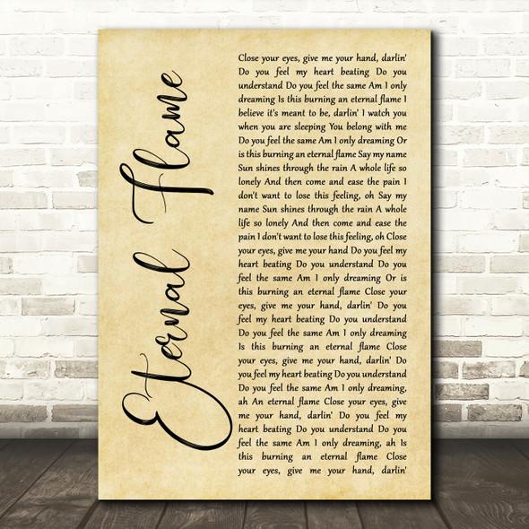 The Bangles Eternal Flame Rustic Script Song Lyric Art Print