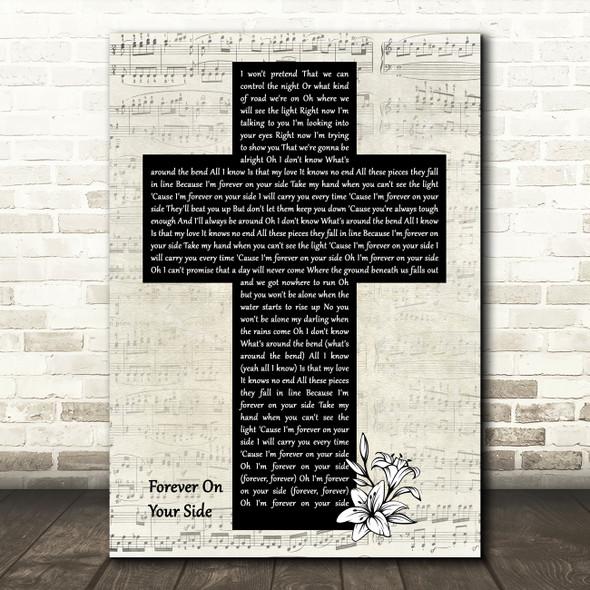 NEEDTOBREATHE Forever On Your Side Music Script Christian Memorial Cross Song Lyric Art Print