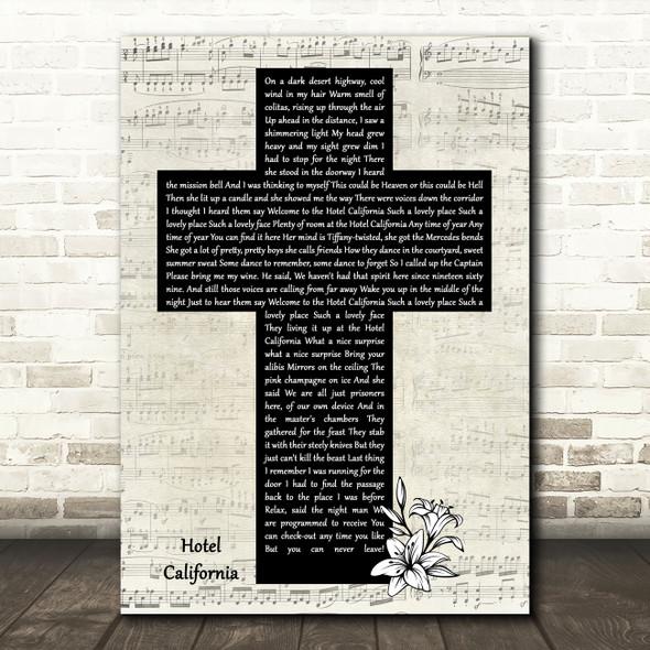 Eagles Hotel California Music Script Christian Memorial Cross Song Lyric Art Print