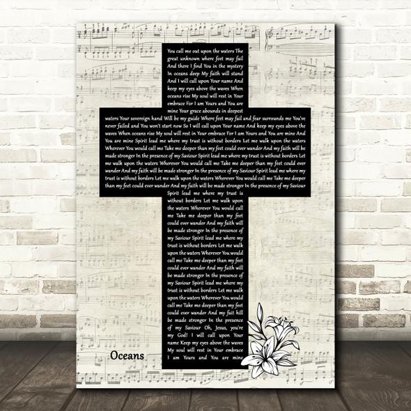 Hillsong United Oceans Music Script Christian Memorial Cross Song Lyric Art Print