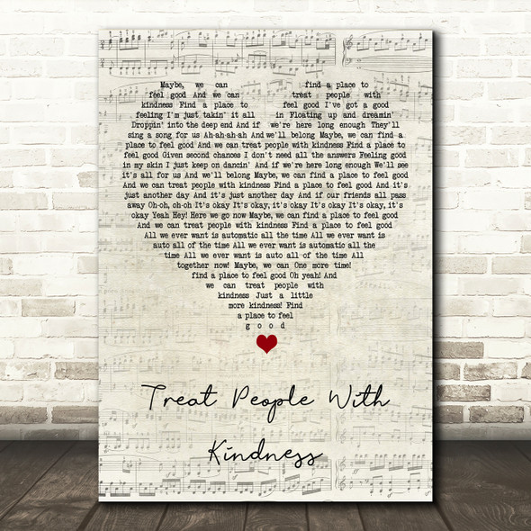Harry Styles Treat People With Kindness Script Heart Song Lyric Art Print