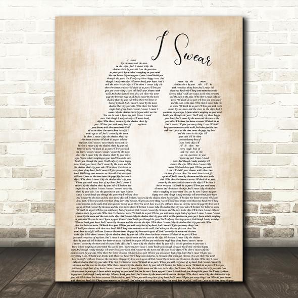 All 4 One I Swear Man Lady Bride Groom Wedding Song Lyric Quote Print