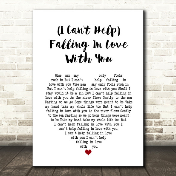 UB40 (I Can't Help) Falling In Love With You Heart Song Lyric Quote Print