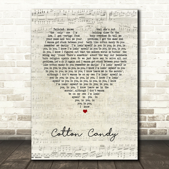Yungblud cotton candy Script Heart Song Lyric Art Print