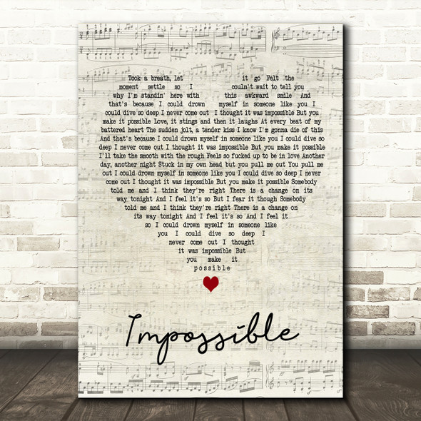 Nothing But Thieves Impossible Script Heart Song Lyric Art Print