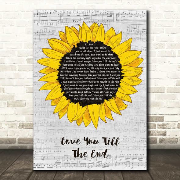 The Pogues Love You 'Till The End Grey Script Sunflower Song Lyric Art Print