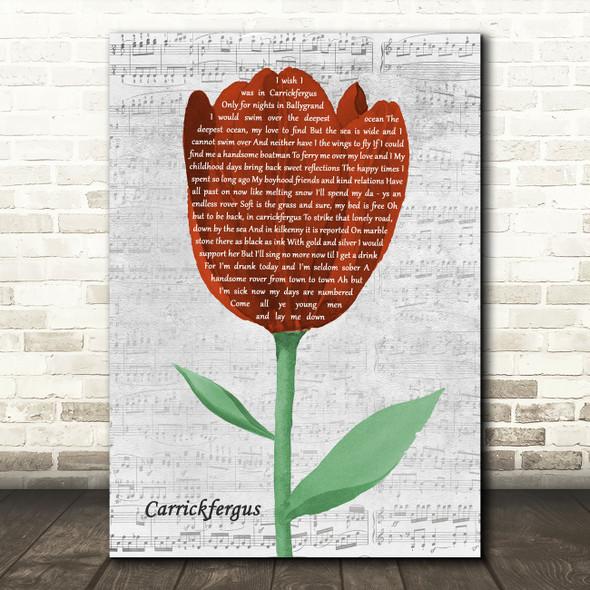 The Dubliners Carrickfergus Grey Script Watercolour Tulip Song Lyric Art Print