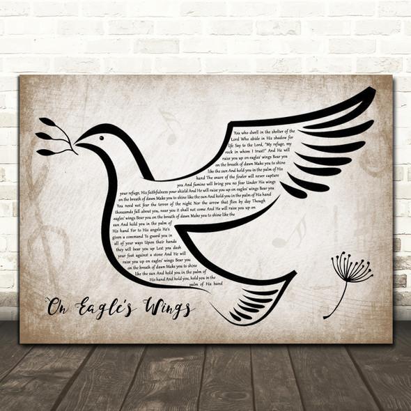 Michael Joncas On Eagle's Wings Vintage Dove Bird Song Lyric Art Print