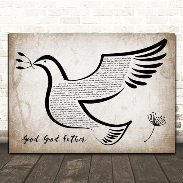 Chris Tomlin Good Good Father Vintage Dove Bird Song Lyric Art Print