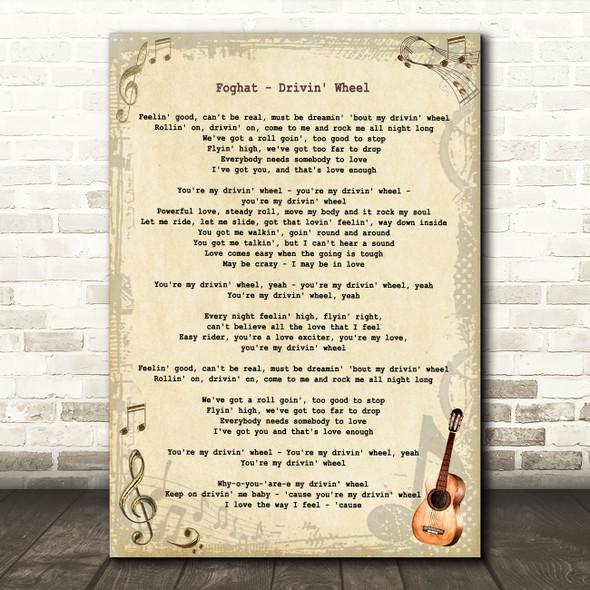 Foghat Drivin' Wheel Vintage Guitar Song Lyric Art Print