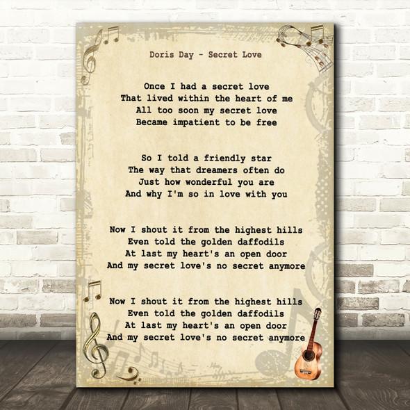 Doris Day Secret Love Vintage Guitar Song Lyric Art Print