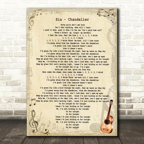 Sia Chandelier Vintage Guitar Song Lyric Art Print