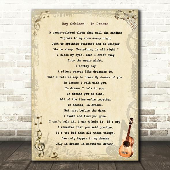 Roy Orbison In Dreams Vintage Guitar Song Lyric Art Print