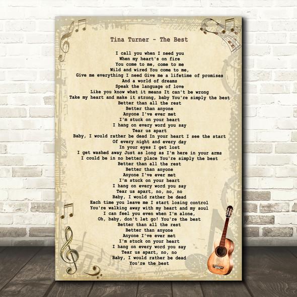 Tina Turner The Best Vintage Guitar Song Lyric Art Print